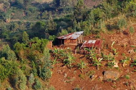 shanty: A small shanty farm on the hills of Rwanda Stock Photo