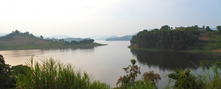 bunyoni: A panoramic view of Lake Bunyoni, Uganda from Itambira Island