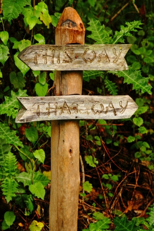 A clever garden pathway sign telling you to go either This Way or That Way. Stock Photo