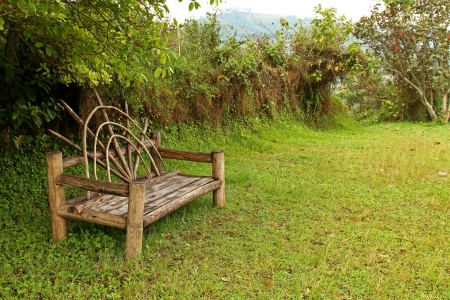 bunyoni: A uniquely shaped wooden bench sits in an open meadow. Stock Photo