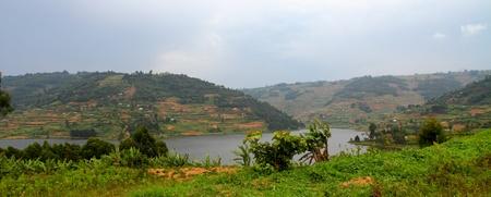 bunyoni: The terraced farming community hills on the shores of Lake Bunyoni in Uganda