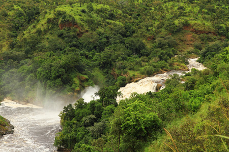 The Uhuru Falls which are situated beside the more famous Murchison Falls, in Murchison Falls National Park  Uganda  Stock Photo