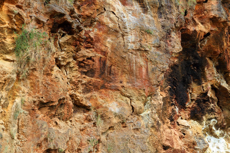 A multicolred rock canyon wall along the banks of the Nile in Uganda, Africa