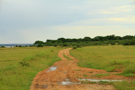 One of the dirt roads winding through Murchison Falls National Park in Uganda Stock Photo