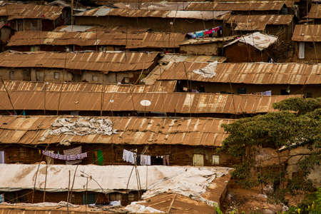 Close up of some of the metal rooves of homes in the Kibera slum of Nairobi, Kenya.