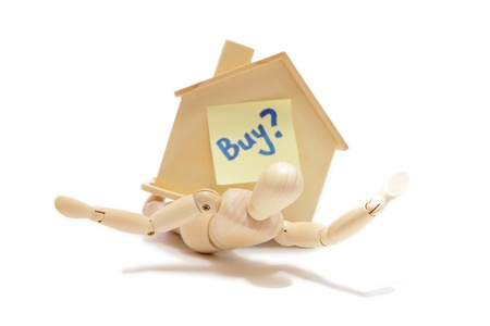 financial burden: Buy a house with white background