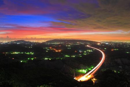 Night Scene van een snelweg, Formosa (Taiwan) Stockfoto