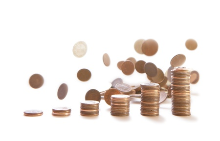 pennies: Heap of  coins falling to the ground  Stock Photo