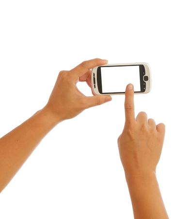 gprs: Touch smart phone with white background Stock Photo