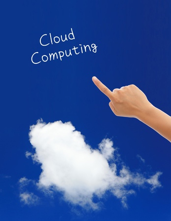 cloud computing concept(save data to clouds) photo