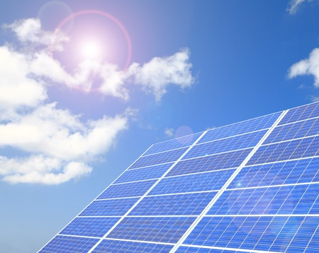 thermal: Closeup of Solar Panels with sunlight and blue sky background