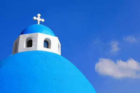 Beautiful Cross with blue sky and white cloud in greece  Stock Photo - 10765454