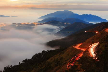 yellow car: beautiful sea of cloud with mountain  Stock Photo