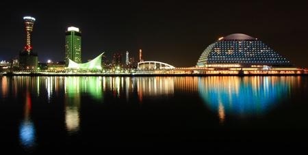 nightscene: Night scene view of Kobe harbor area at dusk