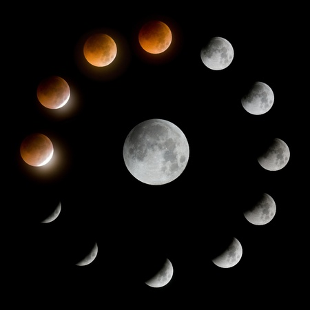 a series of total lunar eclipse  Stock Photo