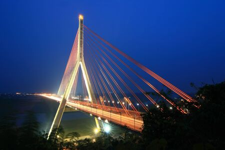Night Scene of Cable-Stayed Bridge  photo