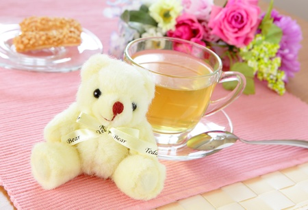 afternoon break: Happiness afternoon tea with bear Stock Photo