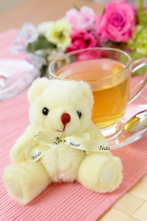 Happiness afternoon tea with bear Stock Photo - 10765503