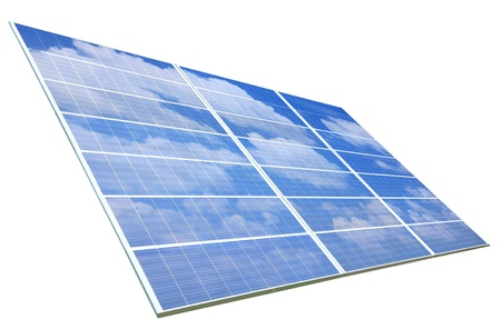 sunlight ,blue sky and white cloud reflection on Solar Panel Stock Photo - 10890778