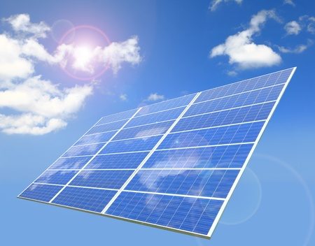 sunlight ,blue sky and white cloud reflection on Solar Panel Stock Photo - 10890793