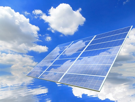 sunlight ,blue sky and white cloud reflection on Solar Panel photo