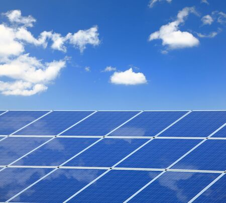 sunlight ,blue sky and white cloud reflection on Solar Panel Stock Photo - 10890798