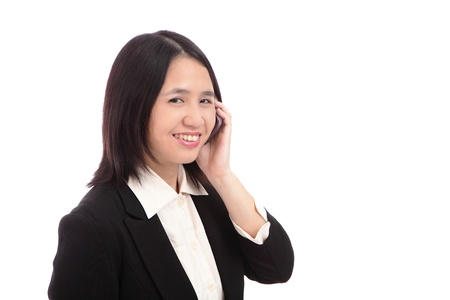 Cute Office Lady smiles with mobile phone Stock Photo - 10890802