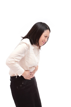 stomachache woman: Business woman with stomach issues
