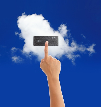 hand with blue sky and white cloud, cloud computing concept photo