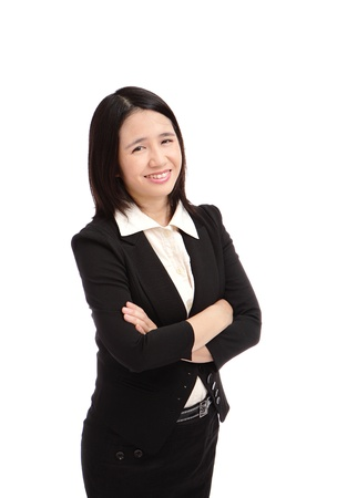 portrait of a asian business woman  with hand crossed photo