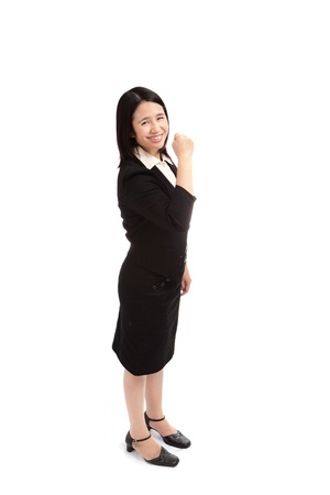 portrait of a asian business woman  make a fist photo