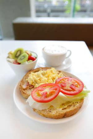 health breakfast with window view photo