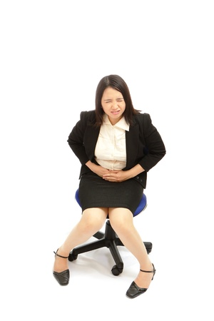 stomachache woman: Business asian woman with  menstruation issues
