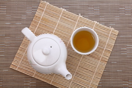 healthful green tea and teapot for afternoon tea time photo