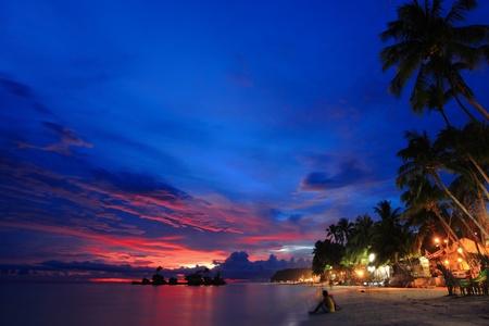 boracay: beautiful Beach night scene Stock Photo