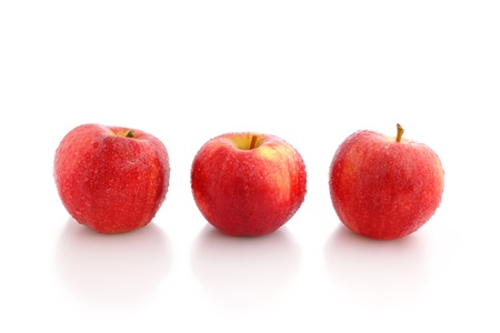 fresh Red Apple with water drop on white background photo