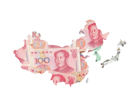 mapa china: Asia mapa hecho por las monedas asi�ticas (chinas incluyen dinero yuan, el yen japon�s, won coreano, Taiwan d�lar)