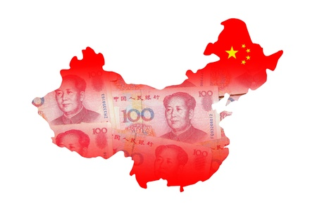 chinese map: China Map made by Chinese Money (Yuan) currency Stock Photo