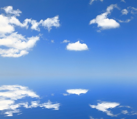 white cloud and blue sky with reflection photo