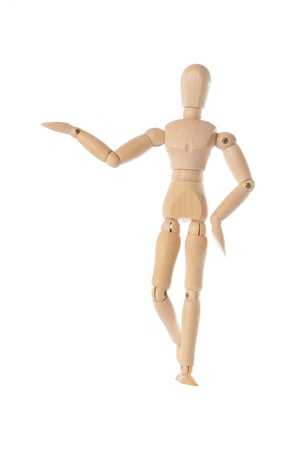 wooden figure: Wooden figure raising arm  hand and introduce Stock Photo