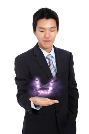 young business man holding thunder and lightning. isolate on white background photo