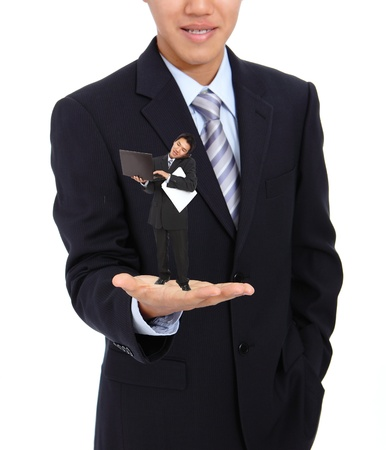 boss watching his busy subordinate (young business man) isolate on white background photo