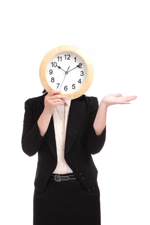 business woman holding clock, concept for time need on schedule photo