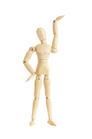 artists mannequin: Wooden figure raising arm  hand Stock Photo