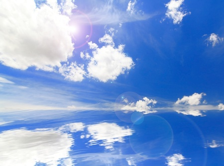 Beautiful Blue sky and white cloud reflection on the water Stock Photo - 11189206