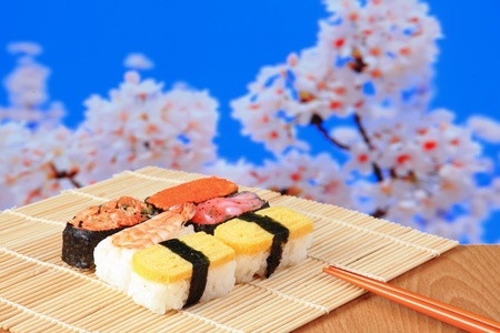 osaka castle: tasty japan sushi with pink cherry blossoms tree