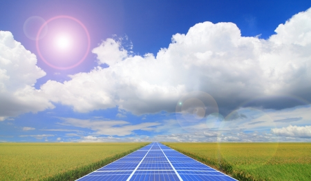 fuel cell: solar panel and blue sky