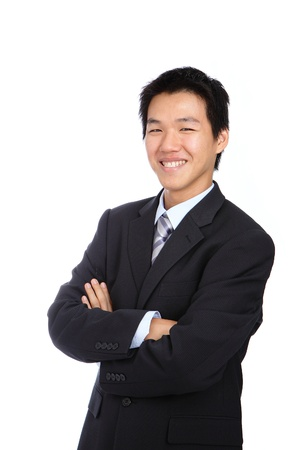 Young business man with confident smile on white isolated background photo