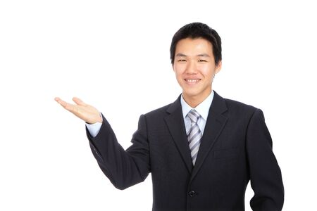 introduce: Young business man smile introduce with hand gesture