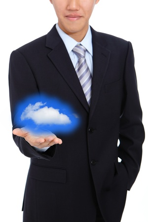 young business man holding hand presenting cloud and sky. isolate on white background, concept for cloud computing or environmental protection photo